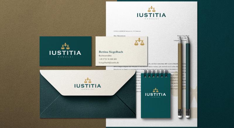Dieses Bild zeigt ein Print-Set/die Geschäftsausstattung von IUSTITIA.